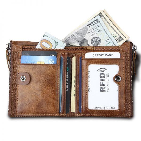 Genuine Leather Men Wallet Small Zipper Pocket Men Wallets Portomonee Male Short Coin Purse Brand