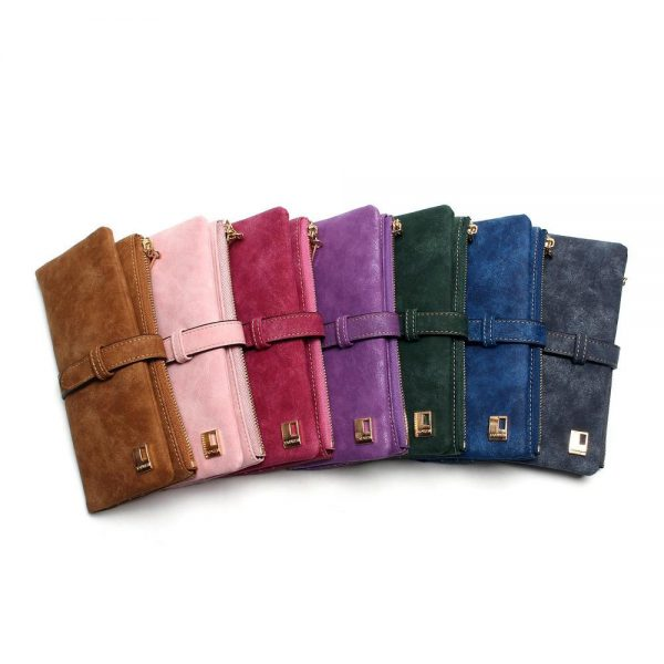 New Fashion Women Wallets Drawstring Nubuck Leather Zipper Wallet Women s Long Design Purse Two
