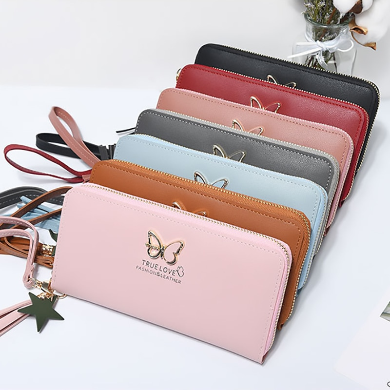 size 40 59138 51eea Brand New Butterfly Hollowed Long Women's Wallet with Phone Case