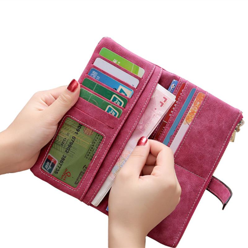 739185e994f9 DEDOMON Designer Luxury Leather Long Zipper Wallet for Women