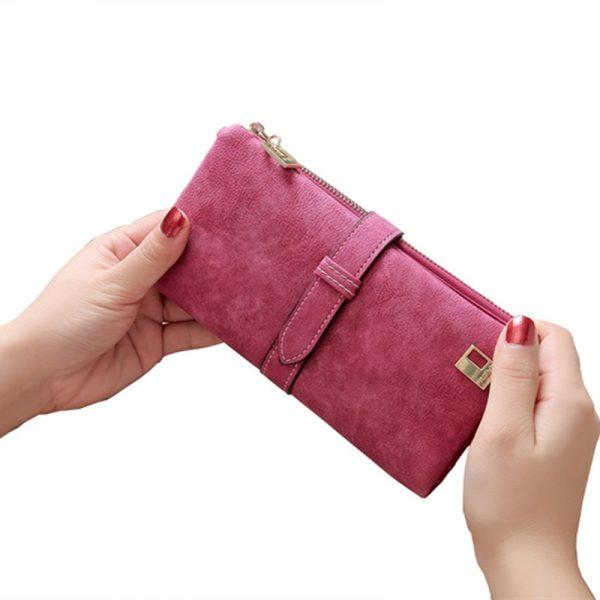 Solid Drawstring Nubuck Leather Zipper Long Women Wallet Phone Bag Luxury Brand Wallets Designer Purse