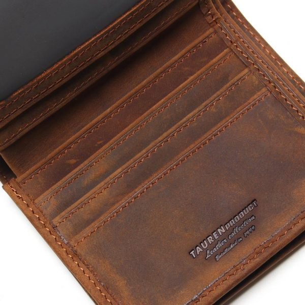 Vintage Crazy Horse Handmade Leather Men Wallets Multi Functional Cowhide Coin Purse Genuine Leather Wallet