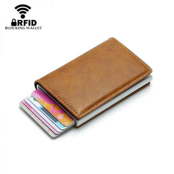 BISI GORO Antitheft Men Vintage Credit Card Holder Blocking Rfid Wallet Leather Unisex Security Information Aluminum