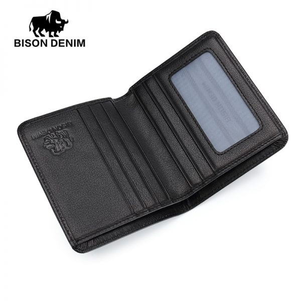 BISON DENIM Black Purse For Men Genuine Leather Men s Wallets Thin Male Wallet Card Holder