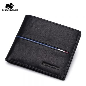 bison denim genuine leather bifold wallet