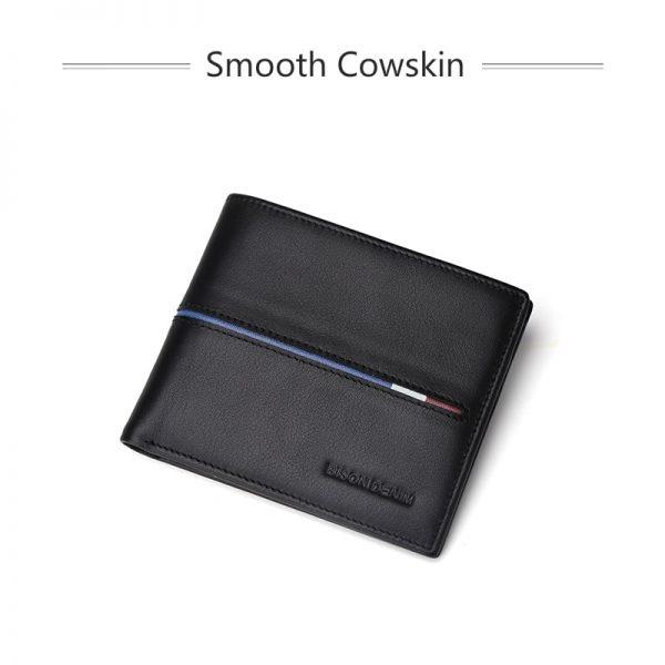 BISON DENIM Genuine Leather Wallet Men Brand Fashion Short Design Purses Male Gift ID Credit Card