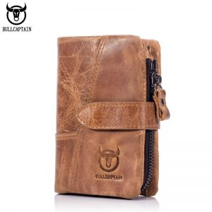 BULLCAPTAIN  Trifold Hasp Zipper Short Wallets for MEN Cow Leather CASUAL Wallet Money Purse Bag