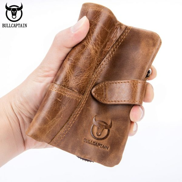 BULLCAPTAIN  Trifold Hasp Zipper Short Wallets for MEN Cow Leather CASUAL Wallet Money Purse Bag