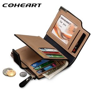 COHEART Brand Wallet Men Leather Men Wallets Purse Top Quality male clutch leather wallet man money