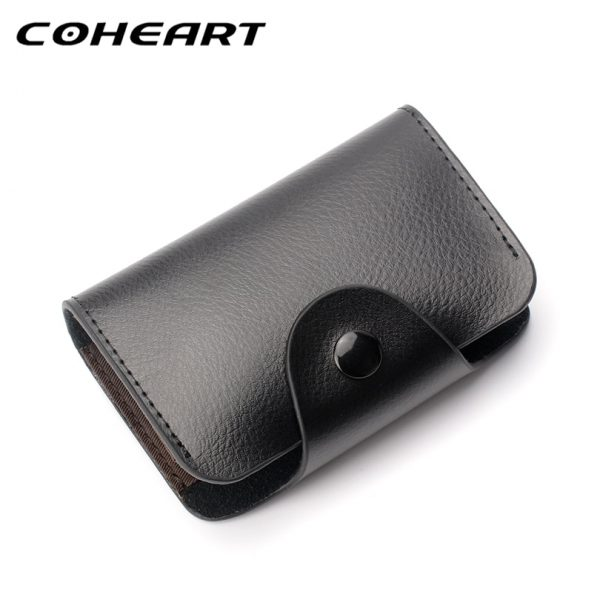 COHEART Genuine Leather Card Wallet for Men and Women Cowhide Business Card Holder Credit Card Purse