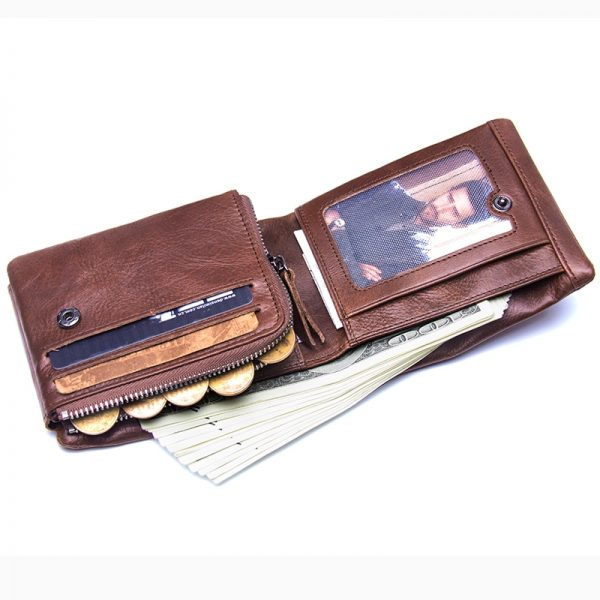CONTACT S Genuine Crazy Horse Leather Men Wallets Vintage Trifold Wallet Zip Coin Pocket Purse Cowhide
