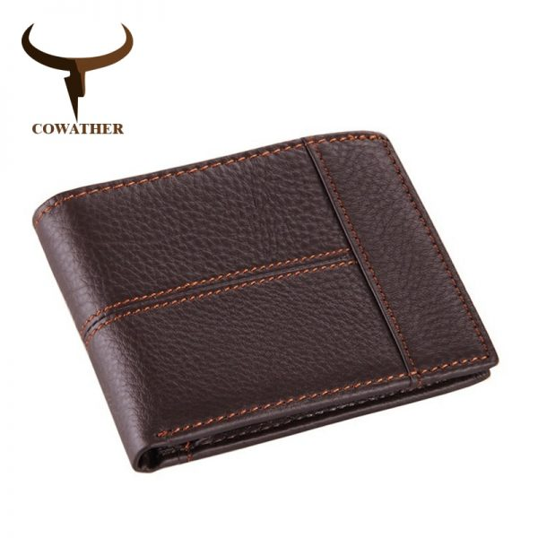 COWATHER  top quality cow genuine leather men wallets fashion splice purse dollar price carteira masculina
