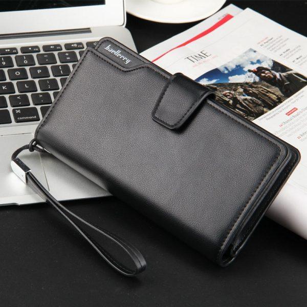 Card holder Leather Wallet men Long Design Quality passport cover Fashion Casual Mens Purse Zipper Multi