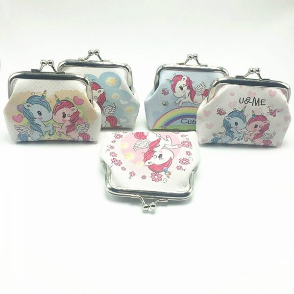 Cartoon Animal Leather Coin Purses Women Hasp Small Wallets Kids Boys Cute Unicorn Elephant Retro Mini