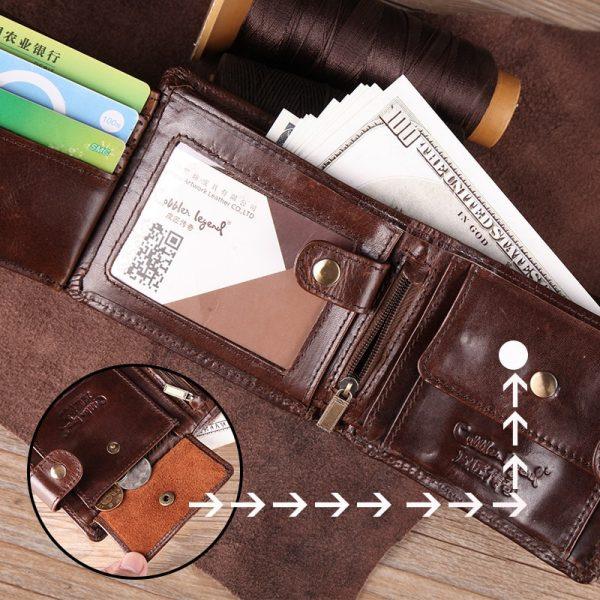 Cobbler Legend Real Cowhide Leather Bifold Clutch Genuine Leather Men s Short Wallets Coin Purses Male
