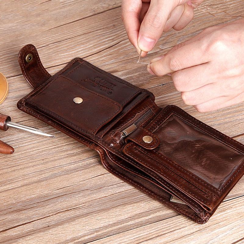 4d4bd2d0881e Cowhide Leather Bifold Clutch Genuine Men s Short Leather Wallet