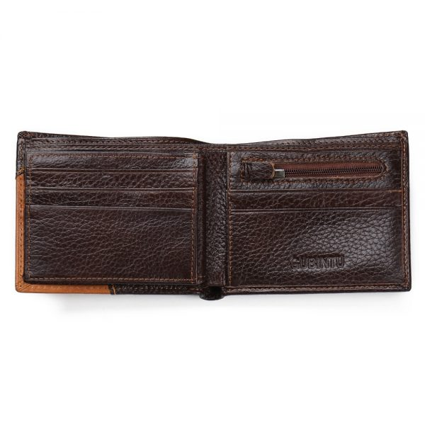 Famous Luxury Brand Genuine Leather Men Wallets Coin Pocket Zipper Men s Leather Wallet with Coin
