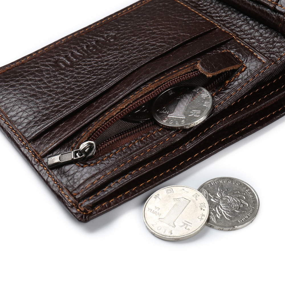 custom shop for authentic reliable reputation Luxury Genuine leather Men's Wallet with Coin Pocket Zipper