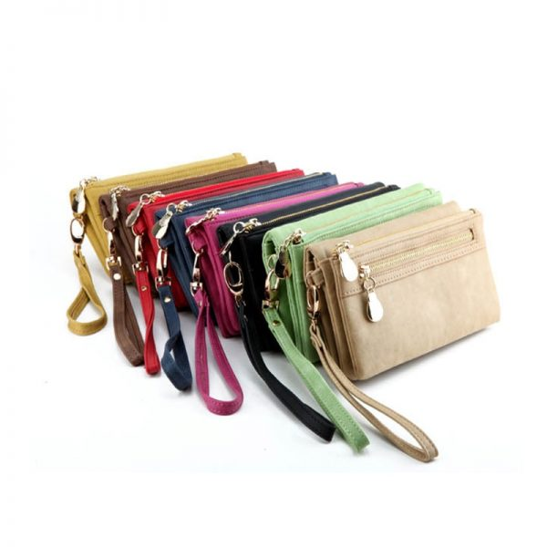 Fashion Women Wallets Dull Polish Leather Wallet Double Zipper Day Clutch Purse Wristlet Portefeuille Handbags Carteira