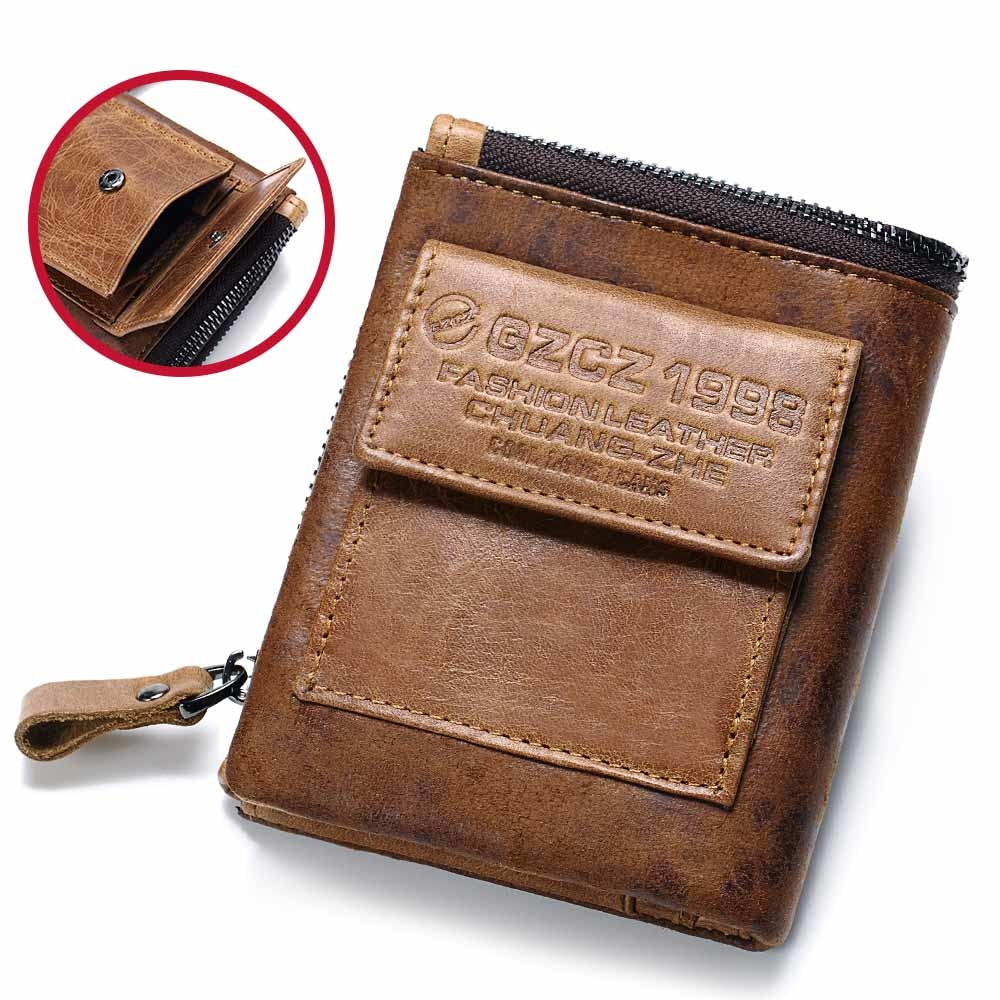 505091b41cb4 GZCZ Genuine Leather Men s Fashion Wallet   Card Holder