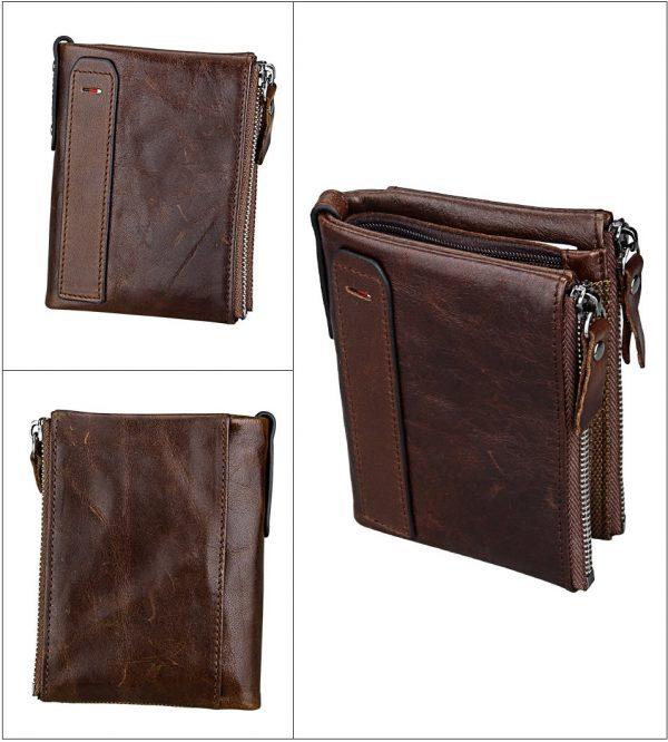 Genuine Cowhide Leather Men Wallet Top Quality Male Short Coin Purse Double Zippers Men Purse Luxury