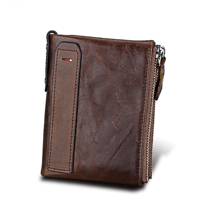 5b8ca59e4234 Vintage Genuine Leather Bi-Fold Double Zipper Designer Wallet for Women