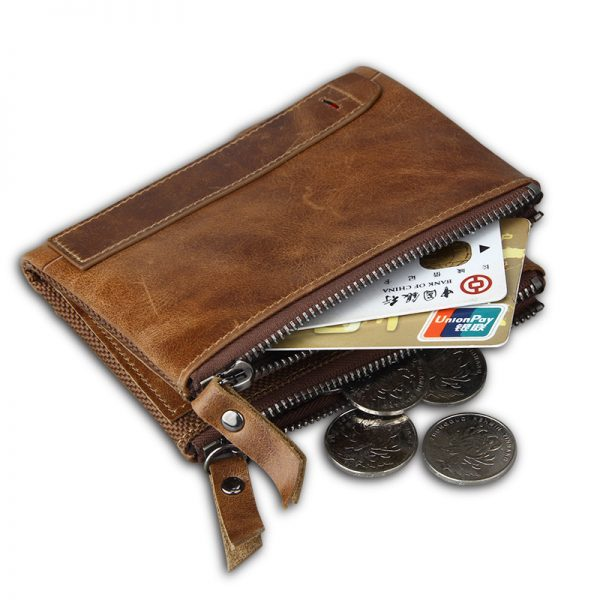 Hot  New Vintage Genuine Leather Women Wallets Female Bifold Women s Wallet Double Zipper Design