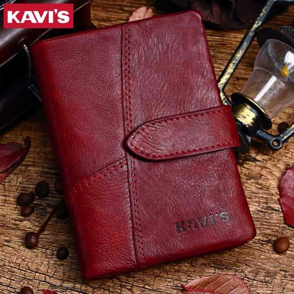 KAVIS  Genuine Leather Women Wallet And Purses Coin Purse Female Small Portomonee Rfid Walet Lady