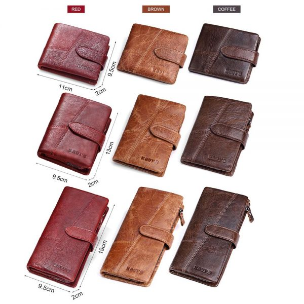 KAVIS Brand Genuine Leather Men Wallets Luxury Credit Cards Coin Purse Male Small Walet Portomonee Rfid
