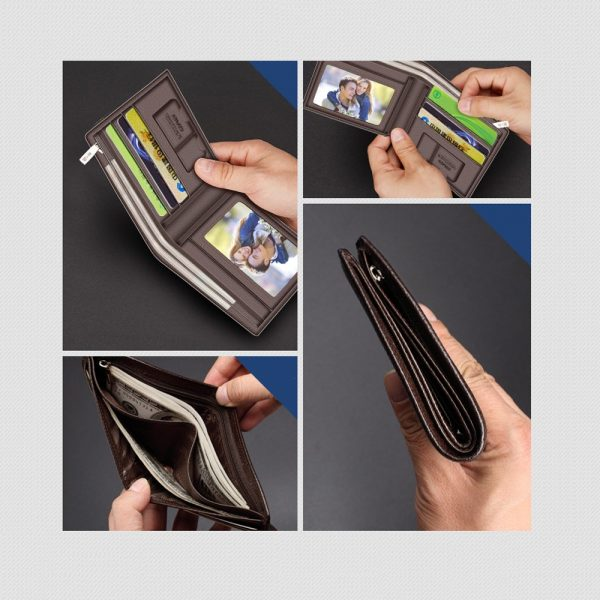LAORENTOU Wallet Men  Genuine Leather Short Wallet Vintage Cow Leather Casual Man Wallets Purse Standard