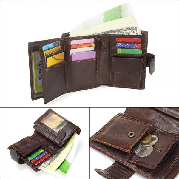 MISFITS Vintage Men Wallet Genuine Leather Short Wallets Male Multifunctional Cowhide Purse Coin Pocket Driver License