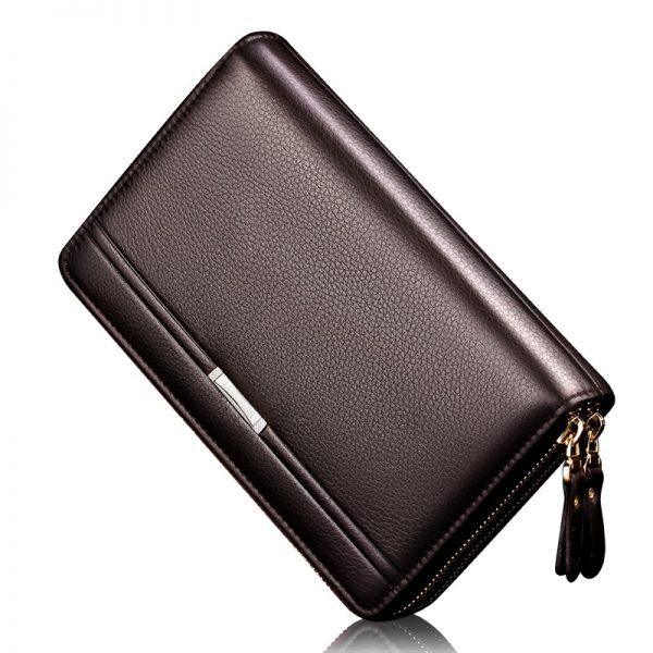 Men wallets with coin pocket long zipper coin purse for men clutch business Male Wallet Double