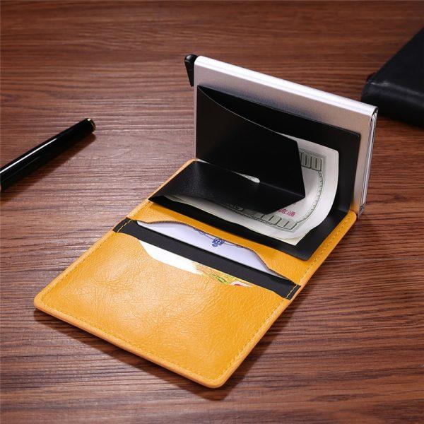 Metal Men Card Holder RFID Aluminium Alloy Credit Card Holder PU Leather Wallet Antitheft Men Wallets