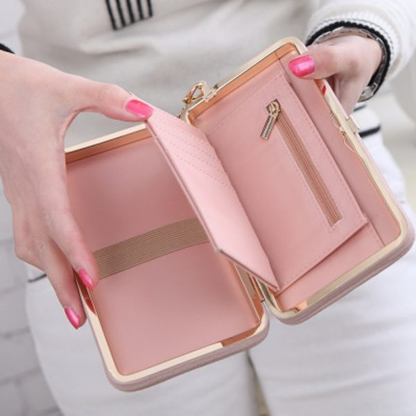 Purse bow wallet female famous brand card holders cellphone pocket PU leather women money bag clutch