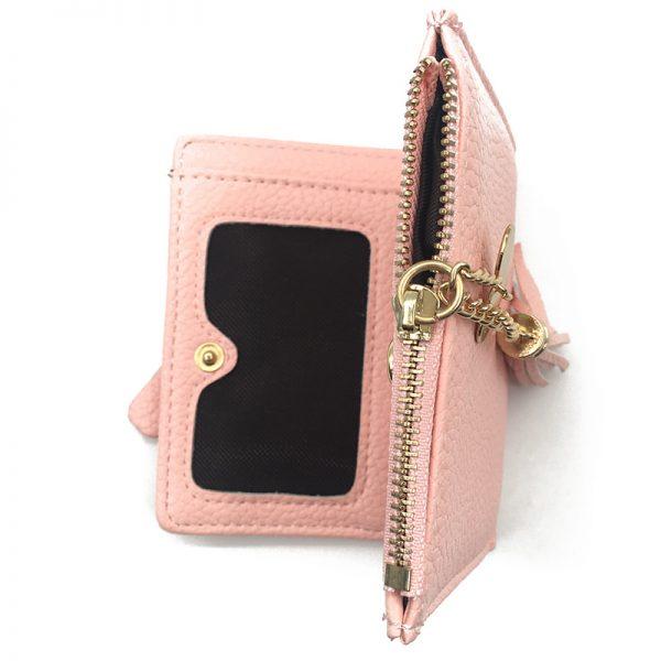 Small Tassel Women Wallet  Luxury Brand Short Design Leather Double Zip Two Fold Female Purse