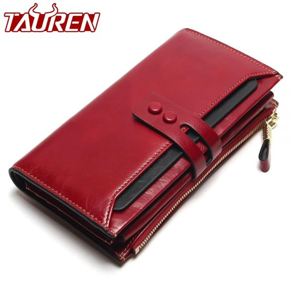 Cowhide Long Wallet