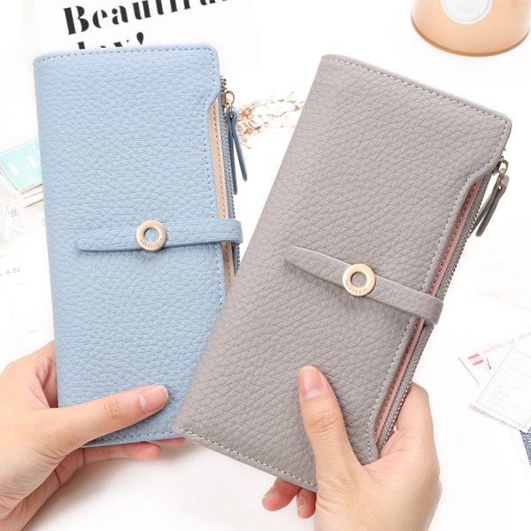 Top Quality Latest Lovely Leather Long Women Wallet Fashion Girls Change Clasp Purse Money Coin Card