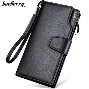 Top Quality leather long wallet men pruse male clutch zipper around wallets men women money bag