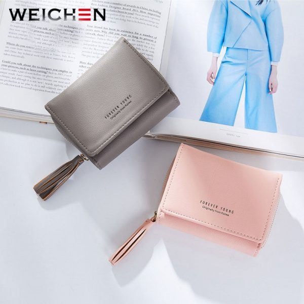 WEICHEN Tassel Pendant Women Wallets With Zipper Coin Pocket Card Holder Brand Ladies Purses Female Wallet