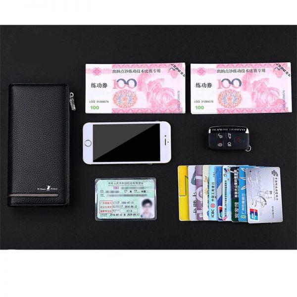 WILLIAMPOLO  Genuine Leather Luxury Brand Men Wallets Long Men Purse Wallet Male Clutch Business Wallet