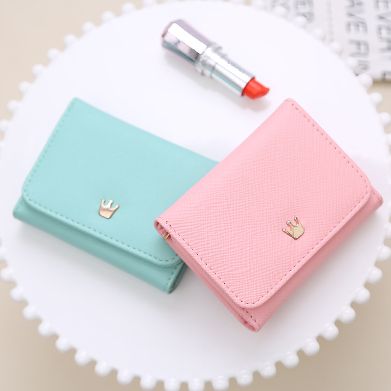 bbbba60ffc5c Short and Cute Try-Fold PU Leather Women's Wallets with Crown Decoration