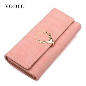 Women Wallet Card Wallet Female Purse Leather Trifold Long Coin Holder Phone Wallet Metal Christmas Deer