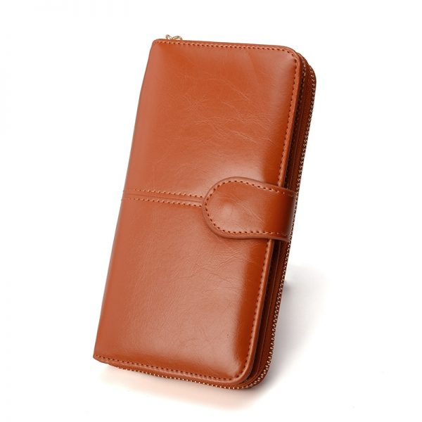 Women Wallet Leather Card Coin Holder Money Clip Long Clutch Phone Wristlet Trifold Zipper Cash Photo
