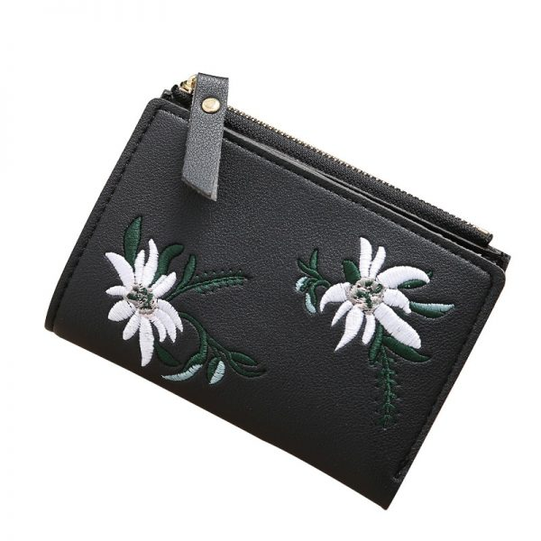 Women Wallet Leather Zipper Flowers Embroidered Ladies Fashion Purses Mini Bag Women PU Leather Coin Purse