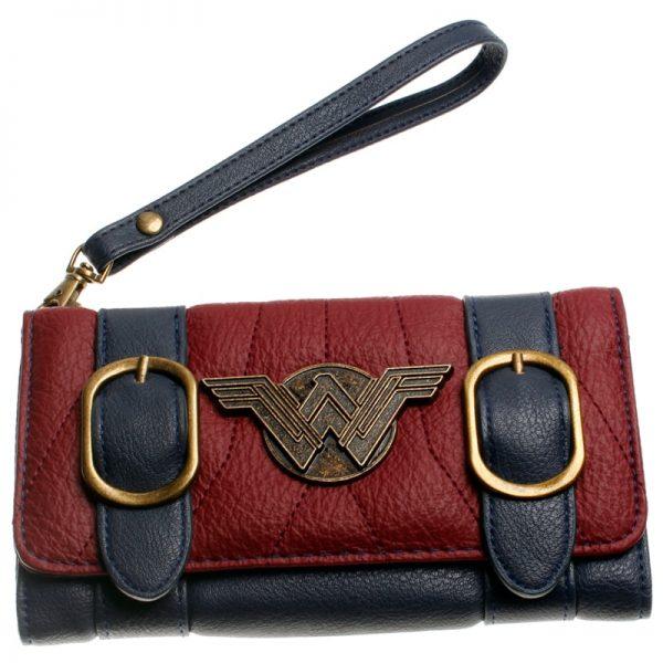Women wallet DC comics wonder woman double buckle tri fold flap wallet DFT