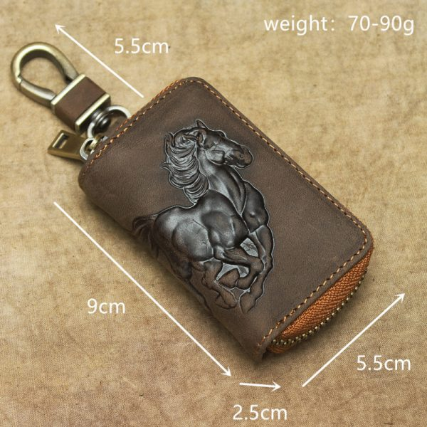 Genuine Leather Car Key Wallet Men Key Holder Housekeeper Horse Carving Keychain Covers Zipper Case