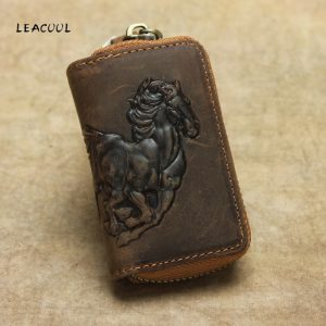 Genuine Leather Car Key Wallet Men Key Holder Housekeeper Horse Carving Keychain Covers Zipper Case