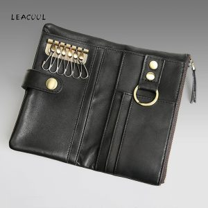 Spilt Leather Man Key Wallet High Capacity Cowhide ID Card Holder Zipper Multi function Car