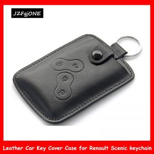Pc Men Fashion Black Leather Car Key Cover Case Wallet Holder Shell for Car Renault Scenic