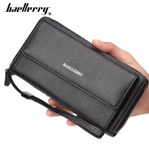 Baellerry PU Leather Men Clutch Wallets Zipper Large Capacity Hand Strap Men Wallet Luxurious Business